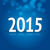 2015 New Year card with blue background