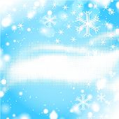 abstract winter halftone background with snowflakes