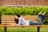 Cool brunette lying on bench using laptop in the park
