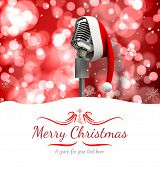 border against microphone with santa hat