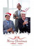Confident businessmen wearing novelty Christmas hat against border