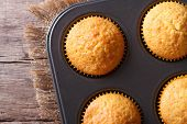 Golden Delicious Muffins In Baking Dish Macro Horizontal Top View