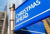 Christmas Ahead blue road sign