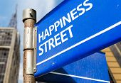 Happiness Street blue road sign