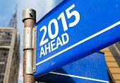 2015 Ahead blue road sign