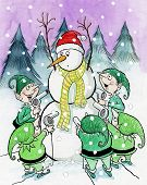 Elves Tease Snowman