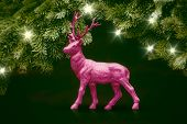 An image of a pink deer christmas decoration
