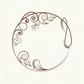 Beautiful floral design decorated frame in circle shape.