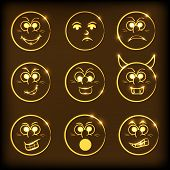Shiny funny faces with different facial expressions on brown background.