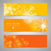 Beautiful snowflake decorated website header or banner set for Merry Christmas celebration