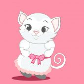 Character of a dancing cat with a rounded tail wearing pink human clothes with belt.