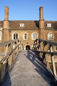Mathematical Bridge And The Presidents Lodge In Queens' College Cambridge University