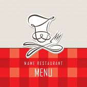 menu design with whiskered cook and kitchenware