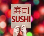 Sushi card with colorful background with defocused lights