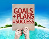 Goals + Plans = Success card with beach background