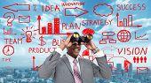 African-American Businessman over business scheme background