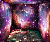 image of big-bang  - The room with space universe around - JPG