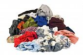 picture of dirty-laundry  - Horizontal shot of a huge pile of dirty laundry needing to be cleaned - JPG