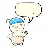 stock photo of crazy hat  - cartoon polar bear wearing hat with speech bubble - JPG