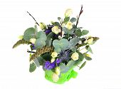 image of pussy-willows  - Spring Easter luittle bouquet with plants and white little roses and pussy - JPG