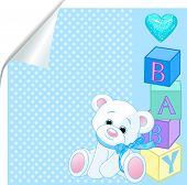 picture of baby bear  - Blue pattern with Teddy Bear and word  - JPG