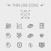 stock photo of calculator  - Business thin line icon set for web and mobile - JPG