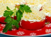 image of grating  - tomatoes slices cover grated cheese garlic parsley fresh - JPG