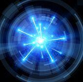 stock photo of big-bang  - big bang with blue sparks and radial abstract tunnel  - JPG