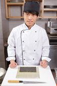 stock photo of chef knife  - Master class in sushi cooking - JPG