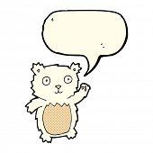pic of bear-cub  - cartoon waving polar bear cub with speech bubble - JPG