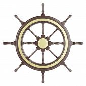 stock photo of wind wheel  - Ship wheel Isolated on white background - JPG