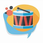 picture of drums  - Drum Flat Icon With Long Shadow - JPG