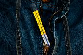 stock photo of crotch  - Capture of Jeans Crotch measurement with glass thermometer - JPG