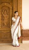 picture of sari  - Beautiful young indian woman in traditional clothing with bridal makeup and oriental jewelry - JPG