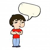 stock photo of annoying  - cartoon annoyed boy with speech bubble - JPG