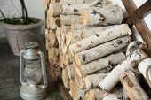 stock photo of birching  - Background of birch firewood at home - JPG