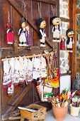 Постер, плакат: bulgarian souvenirs on the wooden door