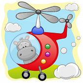 picture of helicopters  - Hippo is flying in a red helicopter - JPG