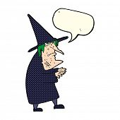 stock photo of ugly  - cartoon ugly old witch with speech bubble - JPG