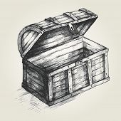 foto of treasure chest  - Sketch style illustration of a treasure chest - JPG