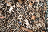 stock photo of bolt  - A lot of old bolts and nuts - JPG