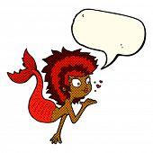 pic of mermaid  - cartoon mermaid blowing a kiss with speech bubble - JPG