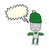 picture of crazy hat  - cartoon robot wearing hat with speech bubble - JPG