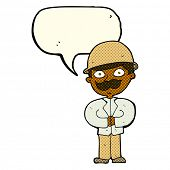 pic of safari hat  - cartoon man in safari hat with speech bubble - JPG