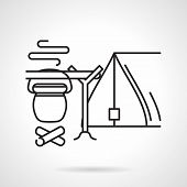 stock photo of bowler  - Black flat line vector icon for campsite with tent and campfire with hanging bowler on white background - JPG