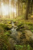 stock photo of sun flare  - Falls on the small mountain river in a forest in spring with light leak and sun flare - JPG