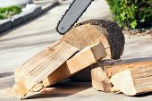 picture of man chainsaw  - Firewood cut with a chainsaw - JPG
