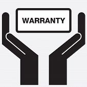 Hand showing warranty sign icon. poster