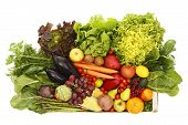 picture of escarole  - Box with fruits and vegetables isolated on white - JPG