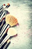 picture of bristle brush  - Collection of professional makeup brushes with copyspace - JPG